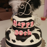 Diva Cow Print Birthday Cake This cake was custom ordered by my dear friend for her black tie 30th birthday celebration. She is a cow lover and wanted her cake to...