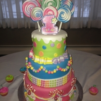 Candy Land 1St Birthday 6, 8, and 10 in. cake tiers. Convered in fondant with all fondant accents and royal icing cupcake tops