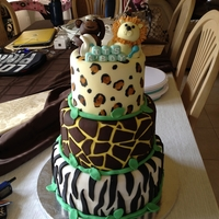 Safari Baby Shower Cake 6, 8, and 10 in cake tiers. Covered in fondant with fondant accents and minor detail in buttercream and cheetah print was painted on