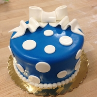 Fondant Layer Cake From Cake Boss Cake Class 8 in cake. covered in fondant with fondant bow and dots with buttercream border