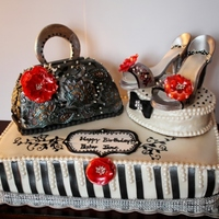 Purse And Shoe Cake All elements of this cake is edible. This cake has 3 flavors