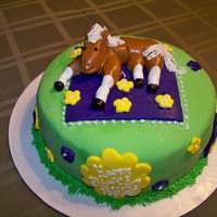 Horse Birthday Cake Birthday cake covered in MMF, horse made out of MMF