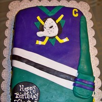 Mighty Ducks Birthday Cake Mighty Ducks Hockey Team Jershey. MMF covered yellow cake
