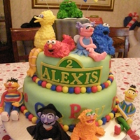 Sesame Street Cake Fondant covered cake with hand sculpted Sesame Street Characters in fondant and royal icing.