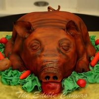 Roasted Pig Groom's Cake Red Velvet and Fondant