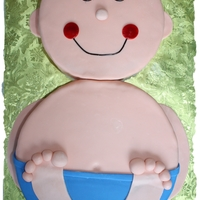 "Baby Boy Shower Cake 8"" and 10"" round chocolate cake with buttercream icing and homemade fondant."