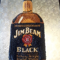 Jim Beam This cake was requested to be piped icing stars and NO fondant. Wasn't sure how I was going to get detail into a Jim Beam bottle using...