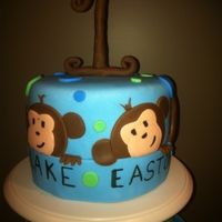 Two Little Monkeys monkey cake made for the first birthday of twin boys....'little monkeys'. My husband delivered and took the pictures of the cake...