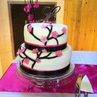 Cherry Blossom Wedding Cake And Cake Balls For a wedding...hot pink and black theme. Simple. :)