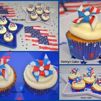 Patriotic Pinwheel Cupcakes!! Vanilla Cupcakes with Dulce de Leche frosting! Made these cupcakes for my daughter's class for President's Day. Inspired by http...
