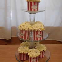 Popcorn Cupcakes Popcorn made from marshmallowsFeel free to message with with questions.I made the stand too!!!