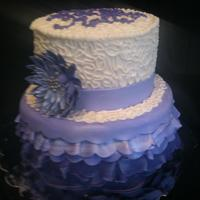 Purple Ombre Ruffle And Cornelli Lace With Gerbera Daisy