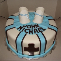 Baby Boy Christening Cake baptism cake for baby boy, gum paste shoes the rest is all fondant