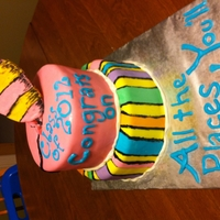 Oh The Places You'll Go! Grad cake themed after Dr. Suess' Oh, the places you'll go!