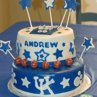 Uk Cake   Blue and White MMF, MMF decorations.