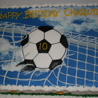 Through The Net soccer themed cake for my friends daughter. All buttercream icing.