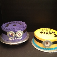 "Despicable Me Minions Evil Minion Is An 8 Dark Chocolate Cake With Cannoli Amp Ganache Filling Normal Minion Is An 8 Vanilla Bean Wit Despicable Me Minions Evil Minion is an 8"" Dark Chocolate Cake with Cannoli & Ganache Filling.Normal Minion is an 8"" Vanilla..."