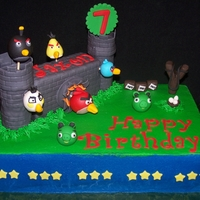 Angry Birds Angry birds scene. Chocolate chip cake with buttercream icing and fondant decorations.