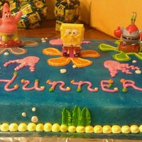 Spongebob Birthday Cake 1/2 sheet cake featuring spongebob. Cake Kit with buttercream icing and decor.