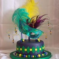Mardi Gras In November  My coworker's 10 year old niece requested a Mardi Gras birthday cake. MMF, airbrushed purple pearl, all items inserted into the cake...