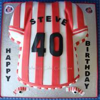Sunderland Football Shirt Cake An english football team - Sunderland. Made with the wilton t-shirt cake tin. covered with fondant and fondant decorations.