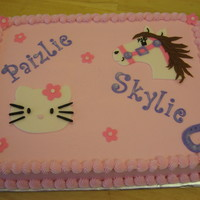 Birthday Cake For Two Sisters One Likes Hello Kitty And The Other Likes Horses Found The Horse Ideas On Cc All Made From Fondant Birthday cake for two sisters, one likes Hello Kitty and the other likes horses. Found the horse ideas on CC. All made from fondant.