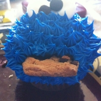 Cookie Monster first attempt at the cookie monster cupcake!