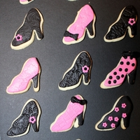 Pink And Black Sugar Cookie Shoes And Purses Sugar Cookie Shoes and Purses with Fondant Decorations.