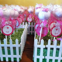 Funfetti Pink Cake Pops And Sugar Cookies 150 Funfetti Cake Pops with handmade flowers and handmade tags, 400 Sugar Cookies in the shape of puzzle pieces, the handmade tags read -...