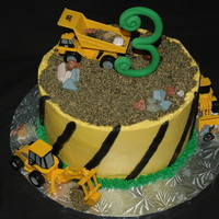 Construction Cake Construction themed cake for a 3 year old. Mom provided the toys.