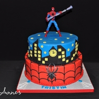Spiderman Birthday! Buttercream cake with fondant accents