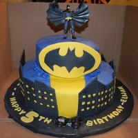 Batman covered in buttercream, accents are fondant, Batman is a toy.