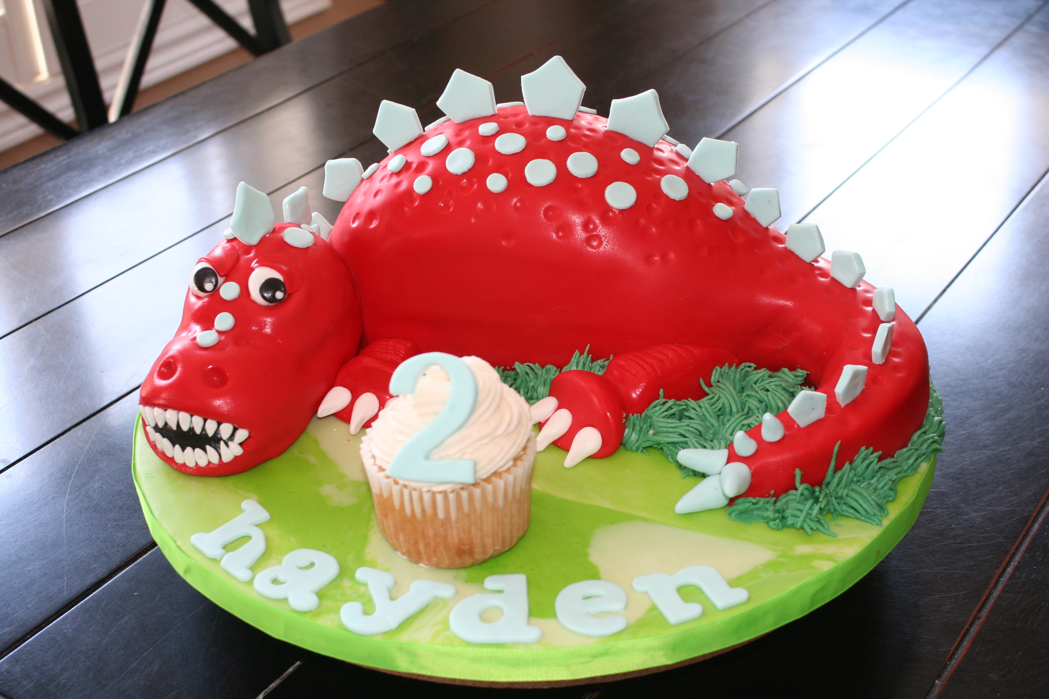 Dinosaur Red 2Nd Birthday Cake 1