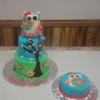 Owl 1St B-Day I made this owl cake for my nieces 1st birthday. The two bottom tiers are buttercream with fondant accents. The owl is cereal treats...