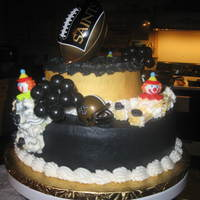 Saints Themed Birthday Cake For A Two Year Old Almond White Cake With Butter Cream Icing Football Balloons And Helmet Were Store Bought Saints themed birthday cake for a two year old. Almond White Cake with Butter cream icing. Football, balloons and helmet were store bought...