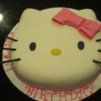 Hello Kitty! This was a chocolate cake with chocolate fudge buttercream. Fondant with fondant details.
