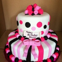 Stripes & Dots Birthday Cake   2-tier replica of a 3-tier Pink Cake Box Cake. All embellishments made of fondant.