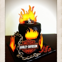 Harley Heaven One of my favorite cakes - all accents are made from fondant (the chain being my favorite). A customer ordered this cake for her husband&#...