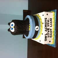 Owl Love You Two tier baby shower cake. Owl is made of cake and covered in fondant.