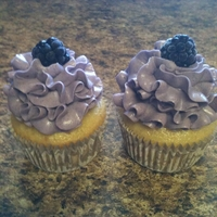 Moscato Cupcake Moscato wine cupcakes with blackberry buttercream.