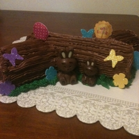 Easter Log Chocolate sponge cake filled with Brandied whipped cream and iced with chocolate buttercream.