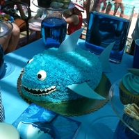 Shark Cake Cake for a Shark themed birthday party. Made with the football pan. Fins and tail made with gum paste.