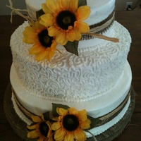 Bride Was Having A Rustic Wedding And Wanted Sunflowers And Burlap Cake Is All Buttercream With Burlap And Silk Sunflowers Tfl And As Al Bride was having a rustic wedding and wanted sunflowers and burlap. Cake is all buttercream with burlap and silk sunflowers. TFL and as...