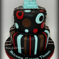 Train Babyshower All fondant with a buttercream boarder. TFL!
