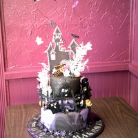9Th Booday (Birthday) Haunted House Cake All fondant Red Velvet / Creamcheese Cake.