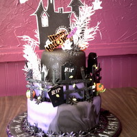 9Th Booday (Birthday) Haunted House Cake