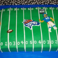 Denver Broncos Cake Made for a young man turning 40....that's him, dead, on the 40th yardline, haha! ;)