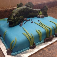 Bass Fish Grooms Cake Bass is Rice Krispies covered in fondant and air brushed. Chocolate cake with fondant.