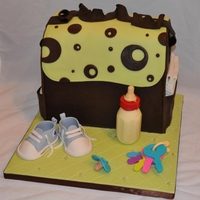 Diaper Bag Cake And Accessories I made this cake for a baby shower (sex unknown) this week. Everythig is fondant or gumpaste except the bottle which is chocolate. I LOVE...