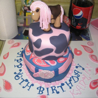 Cow Girl Pink Pasiley Denim With Horse Cowgirl Birthday Cake ... all edible .. even the horse that made me cry .. LOL . Bottom Layer denim with pink belt and buckle with intial....